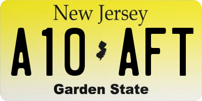NJ license plate A10AFT