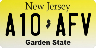 NJ license plate A10AFV