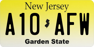 NJ license plate A10AFW