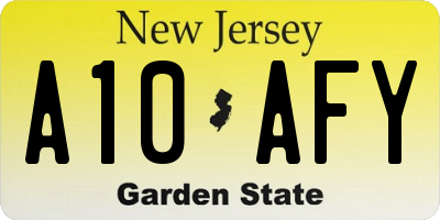 NJ license plate A10AFY