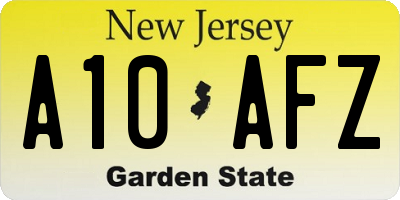 NJ license plate A10AFZ