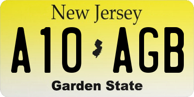 NJ license plate A10AGB