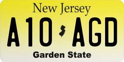 NJ license plate A10AGD