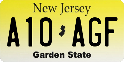 NJ license plate A10AGF