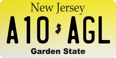 NJ license plate A10AGL