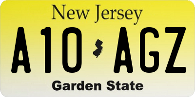 NJ license plate A10AGZ