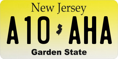 NJ license plate A10AHA