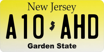 NJ license plate A10AHD