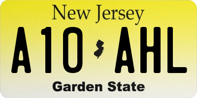 NJ license plate A10AHL