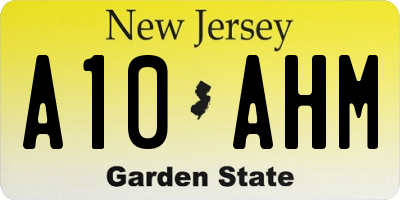 NJ license plate A10AHM