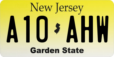 NJ license plate A10AHW