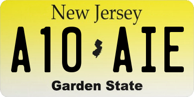 NJ license plate A10AIE