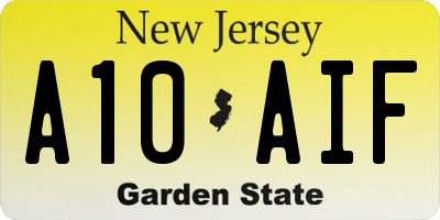 NJ license plate A10AIF