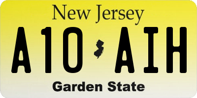 NJ license plate A10AIH