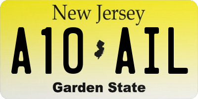 NJ license plate A10AIL