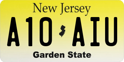 NJ license plate A10AIU