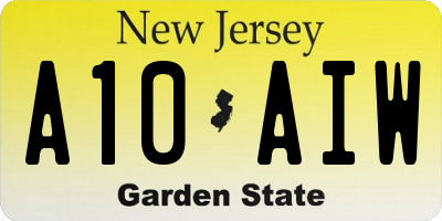 NJ license plate A10AIW