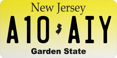 NJ license plate A10AIY