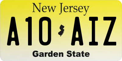 NJ license plate A10AIZ