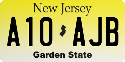 NJ license plate A10AJB