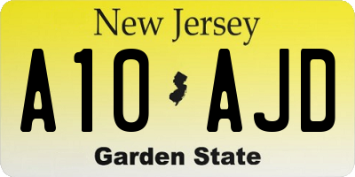 NJ license plate A10AJD