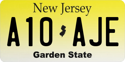 NJ license plate A10AJE