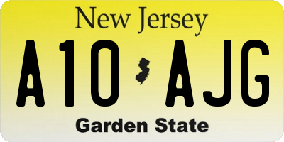 NJ license plate A10AJG