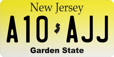 NJ license plate A10AJJ