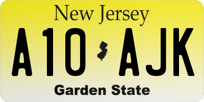 NJ license plate A10AJK