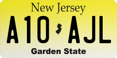 NJ license plate A10AJL