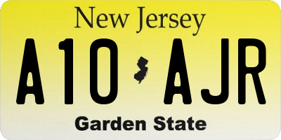 NJ license plate A10AJR