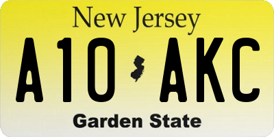NJ license plate A10AKC