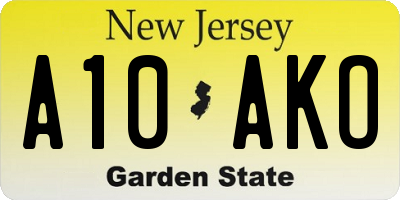 NJ license plate A10AKO