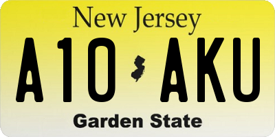 NJ license plate A10AKU