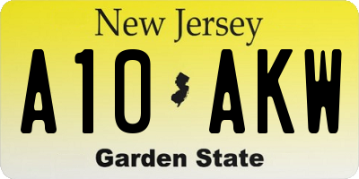 NJ license plate A10AKW