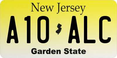 NJ license plate A10ALC