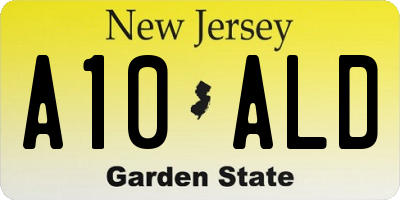 NJ license plate A10ALD
