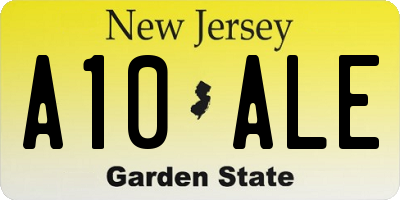 NJ license plate A10ALE