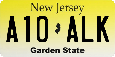 NJ license plate A10ALK