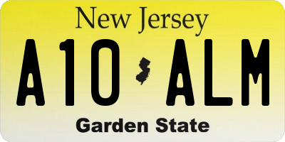 NJ license plate A10ALM