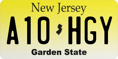 NJ license plate A10HGY
