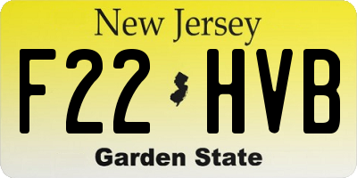 NJ license plate F22HVB