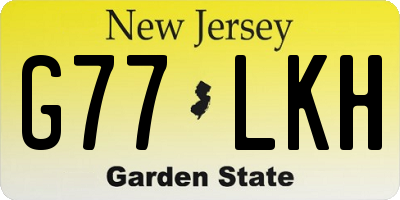 NJ license plate G77LKH