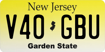 NJ license plate V40GBU