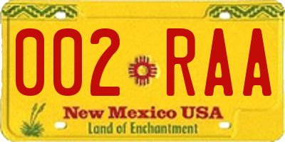 NM license plate 002RAA