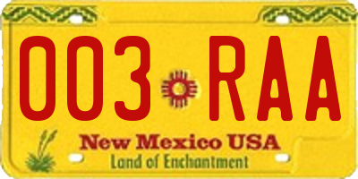 NM license plate 003RAA