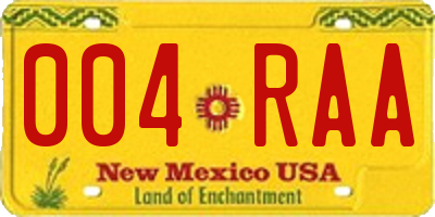 NM license plate 004RAA