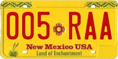 NM license plate 005RAA