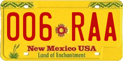 NM license plate 006RAA