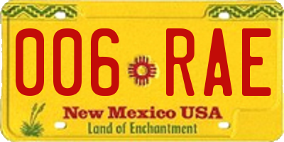 NM license plate 006RAE